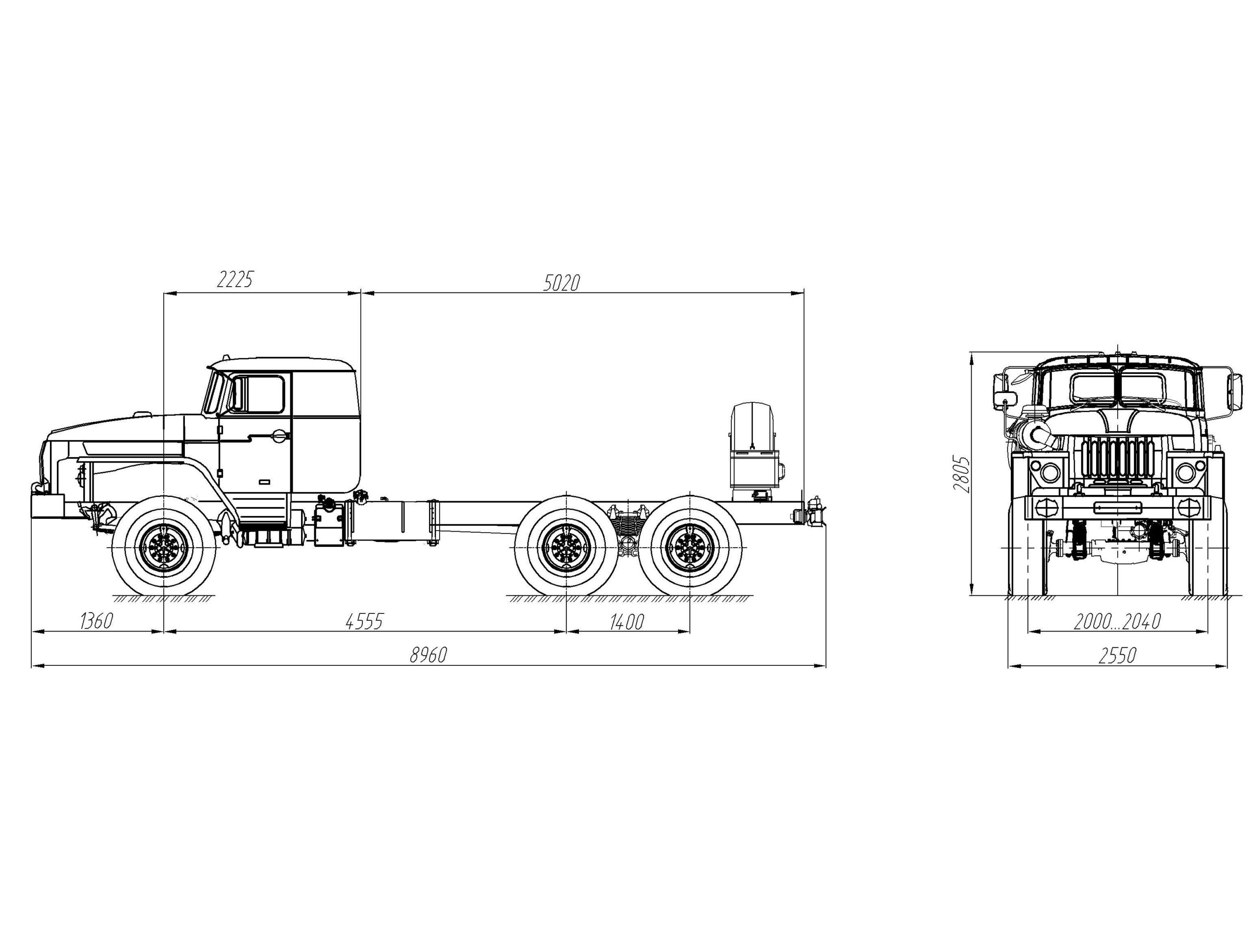 Шасси со спальником Урал 4320-1912-60