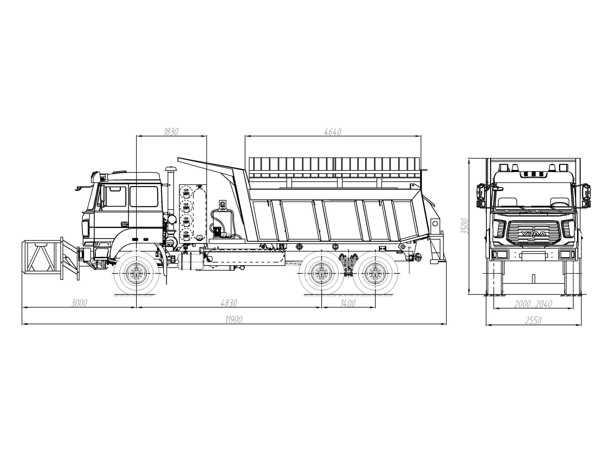 Автомобиль уборочный универсальный (КДМ) на базе самосвала CNG Урал 55571-3521-16