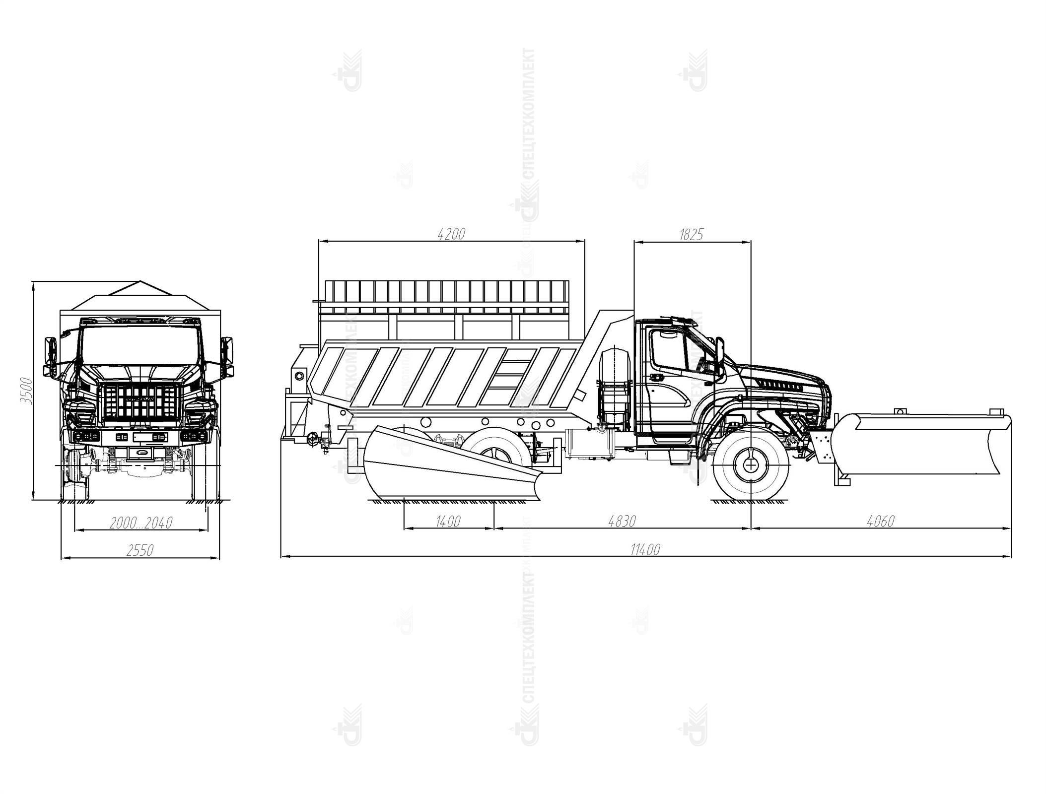 Шнекороторный снегоочиститель с боковым отвалом Урал 55571-5121-72